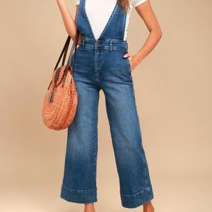 Free People A-Line Flare Denim Overalls